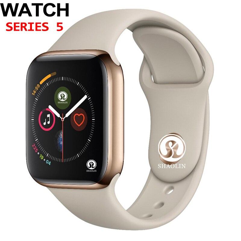 50% de réduction 42mm montre intelligente série 5 horloge Push Message connectivité Bluetooth pour téléphone Android IOS apple iPhone 6 7 8 X Smartwatch