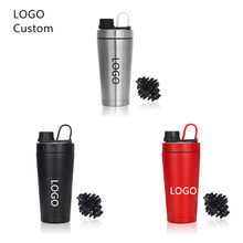 Logo Custom Protein Shaker Bottle Stainless Steel Water Cup Double Wall Vacuum Insulated Bottle Leak Proof Sport Drinkware 20oz(China)