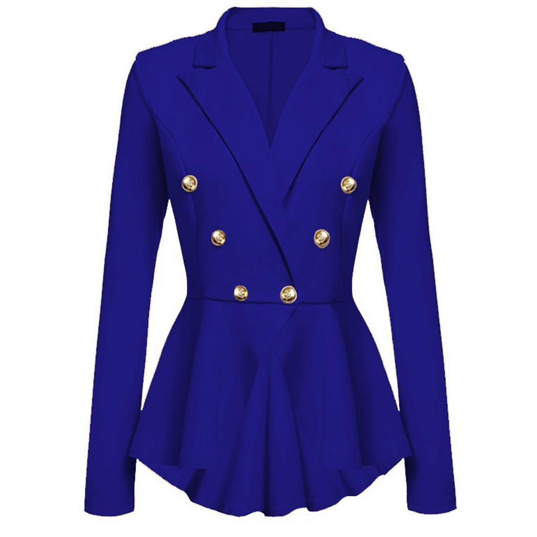 Women Fashion Long Sleeve Solid Button Casual Autumn, Spring Slim Jacket Blazer Buttons Casual, Office, Etc