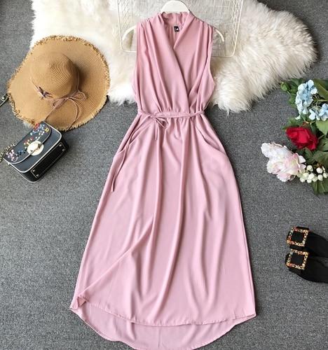 Neploe Sexy Dress Women Summer 2019 New Arival V-Neck Sleeveless Dresses French Chic  Cross Drawstring Slim Waist Vestidos 43690