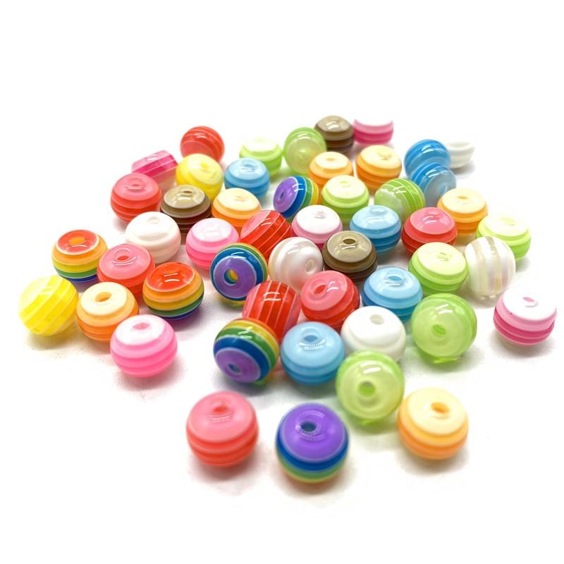 50 шт. 8 мм круглые полимерные полосатые бусины для изготовления ювелирных изделий DIY браслет ожерелье аксессуары # 3A-A