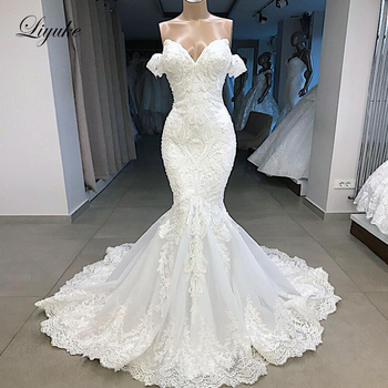 Liyuke 2020 Mermaid Wedding Dress Luxury Plears Off The Shoulder With Bling Plearls  Sleeveless Bridal - discount item  30% OFF Wedding Dresses