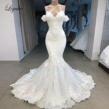 Liyuke 2020 マーメイドウェディングドレス高級 Plears オフショルダーケバケバ Plearls ノースリーブブライダルドレス