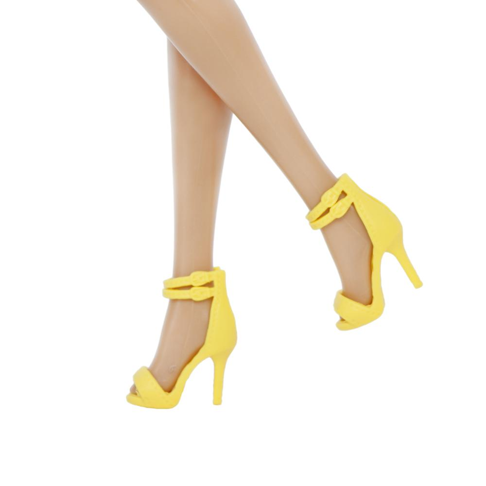 High Quality Doll Shoes For Barbie Doll 12'' Yellow High Heels Shoes Princess Wedding Patry Wear Dollhouse  Clothes Accessories