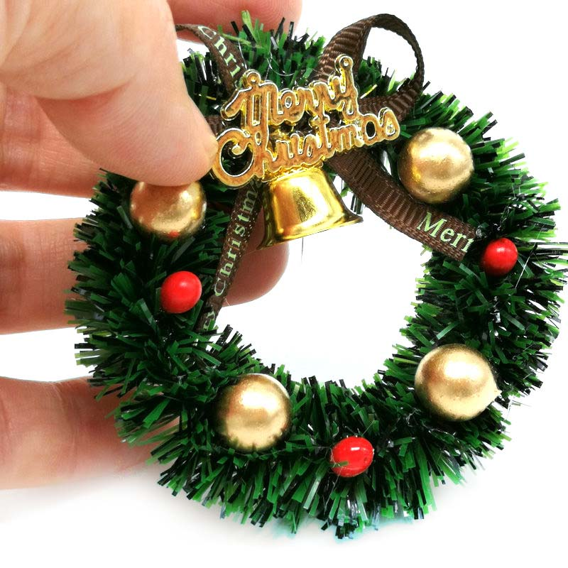 1/12 Dolls House Mini Hanging Xmas Wreath Dollhouse Christmas Tree Decoration Garland Kids Pretend Play Toy