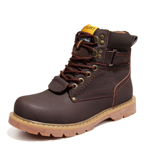 Image 5 - 2020 Mens Winter Snow Boots With Fur Rubber Ankle Boots Cow Split Leather Shoes High Quality Men Outdoor Work Shoe Plus Size 46
