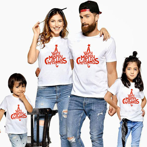 1pc A Very Merry Christmas Family Look Tshirts White Tops Red Print T-shirt Boys Girls And Mommy Daddy Christmas Clothes Fashion