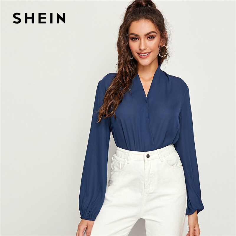 SHEIN Navy V-neck Lantern Sleeve Wrap Top Blouse Women Spring Autumn Long Sleeve Office Lady Solid Elegant Tops And Blouses