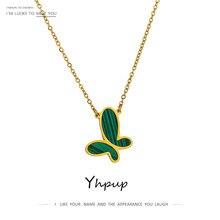 YHpup zielony motyl ze stali nierdzewnej stalowy wisiorek naszyjnik złoty moda 316 naszyjnik dla kobiet malachit kamień Charm Collar biżuteria