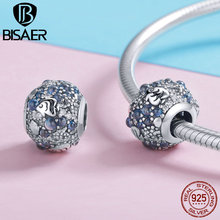 BISAER Metal Beads 925 Sterling Silver Underwater World Tropical Fish Crystal Charms for Charm Bracelet Jewelry Making GXC932