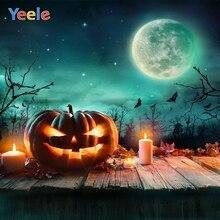 Yeele Halloween Backdrop Wood Board Pumpkin Lantern Forest Moon Night Bat Custom Vinyl Photography Background For Photo Studio