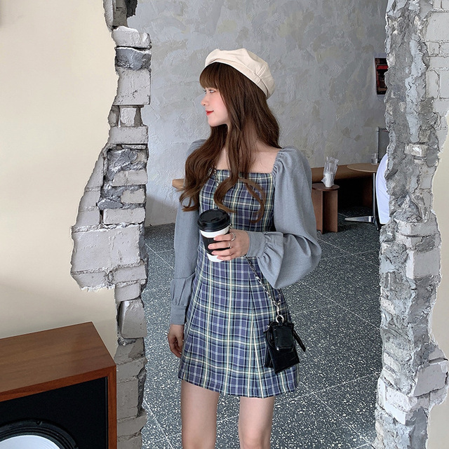 Preppy style Gothic Womens Girls Vintage Plaid Dress Patchwork Puff Sleeve Sexy Party Female Mini Short Dresses 6
