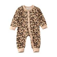 Одежда для маленьких девочек 0-24 месяцев, весенний хлопковый комбинезон с длинными рукавами и леопардовым принтом, спортивный костюм