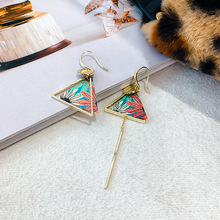 Long Tassel Women's Earring Chinese Style Vintage Bohemia Geometry Aesthetics Irregular Pendientes Carved Simple Jewelry EF47