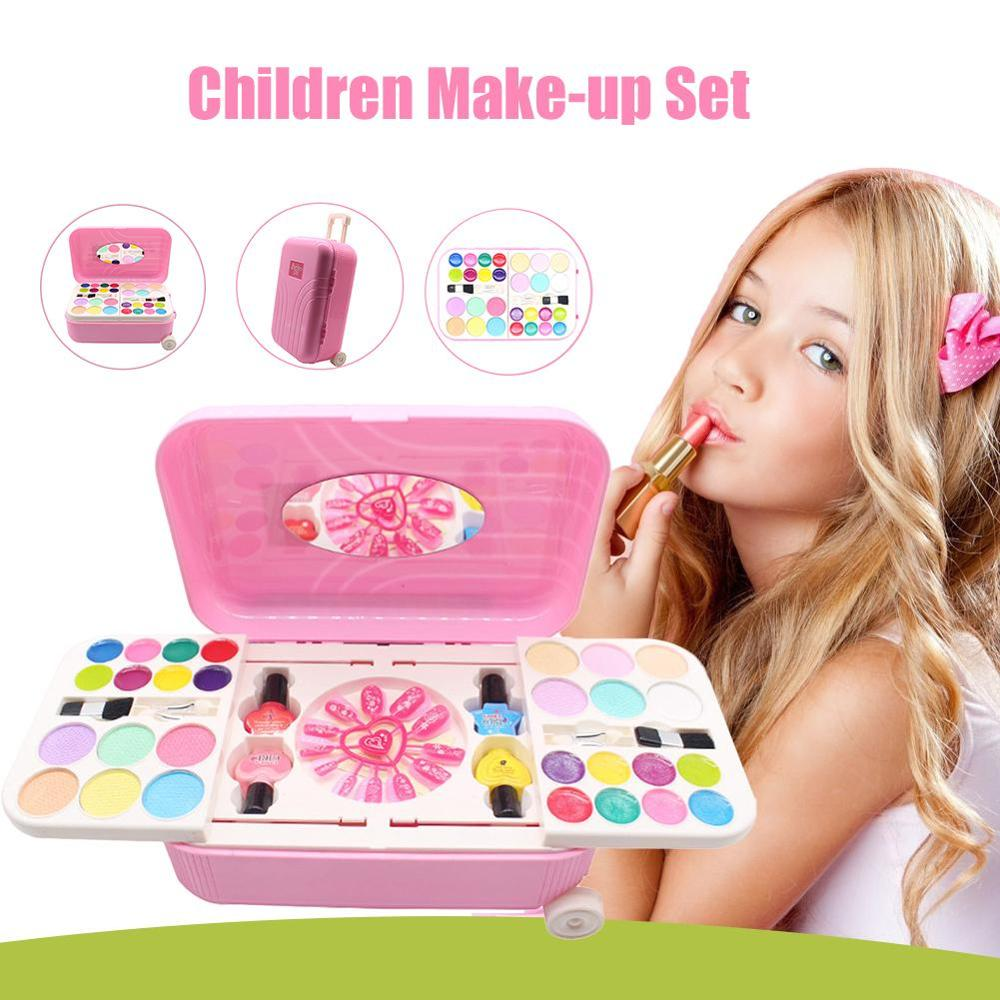 Princess Makeupes Cosmetics Set Toys Nailes Polish Make Up Kits Cutes Plays House Children Gift Suitcase Pretends Play Toys