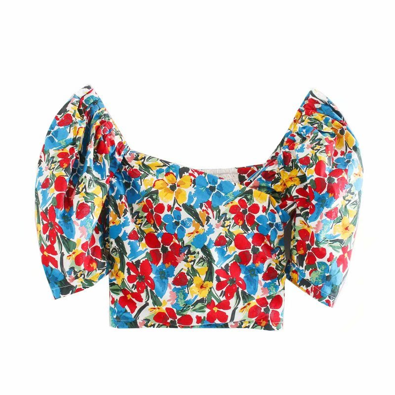 New 2020 Women Cross V Neck Flower Print Casual Slim Smock Blouse Ladies Puff Sleeve Back Elastic Shirts Chic Blusas Tops LS6572