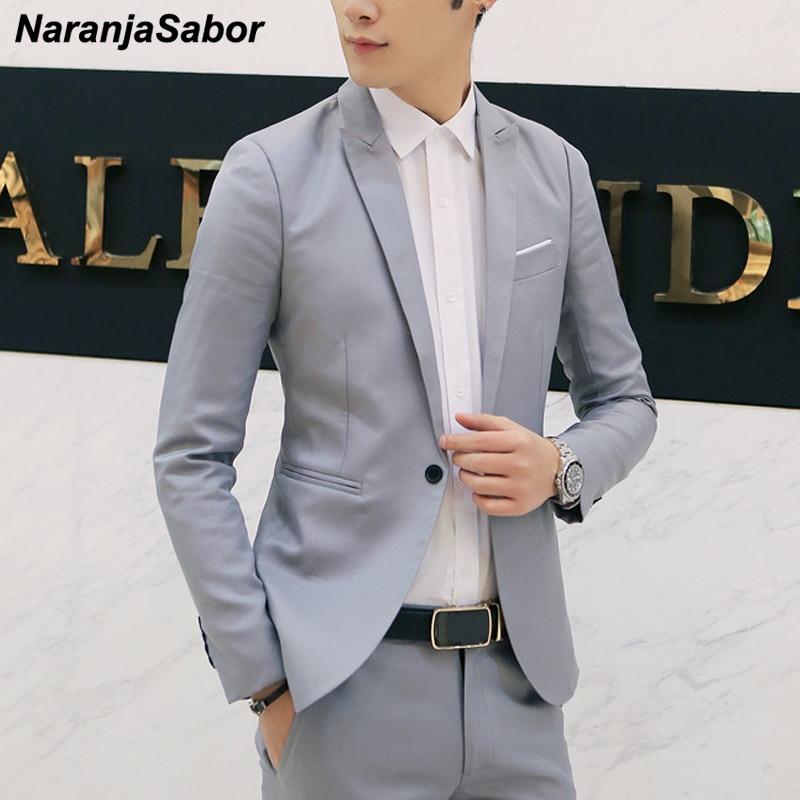 Masculina de Alta Fit para Homens Naranjasabor Blazer Masculino Jaqueta Casual Slim Roupa Qualidade Primavera – Outono N617