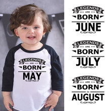 LYTLM Baby Girl Birthday Tshirt for Kids Legends Are Born in May June July August Boys T Shirts Modal Boys T Shirt Long Sleeve(China)
