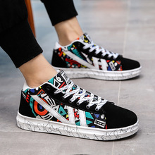 2019 Autumn New Big Boy Shoes Irregular Spelling Color Doodle Skate Male Shoe Student Joker High Warm Cloth