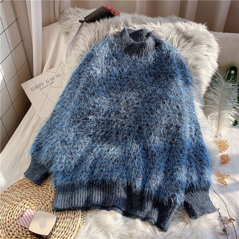Mohair Knitted Women Sweaters And Pullovers O-neck Solid Blue Lantern Sleeved Thicken Warm Lady Elegant Pulls Tops