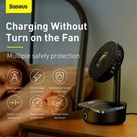 Baseus Desk Fan Shaking Head Portable Fan Support 10W Wireless Charger Low Noise Rechargeable 3Mode Air Cooling Fan