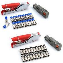 Kit d'outils de sertissage manuels pour connecteurs de Type F, sertisseuse de câbles coaxiaux RG59 RG6 avec connecteurs de Compression à 20 têtes F