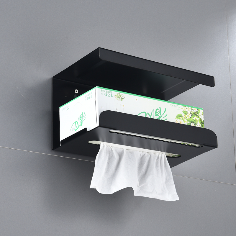 Toilet Paper Holder Black Stainless Steel Bathroom Roll Paper Wall Mount Mobile Phone Rack Paper Towel Holder Toilet Tissue Box