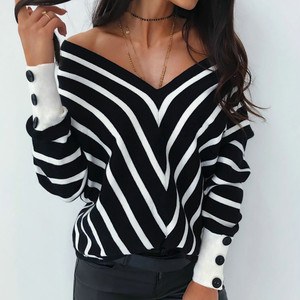 Women Striped tshirt Autumn Sexy Off Shoulder Loose Pullover Warm V Neck Casual Long Sleeve shirt streetwear poleras mujer Tops