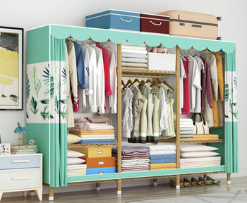 Simple cloth wardrobe steel pipe bold reinforced wardrobe cloth assembly storage cabinet full steel frame thick hanging wardrobe