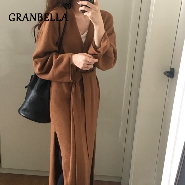 Women Loose Long Knitted Cardigan Sweater 2019 Winter Solid Color Kimono Split Overcoat Warm Soft Sweater With Belt Outwear