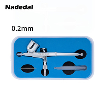 Nasedal 0.2mm 0.3mm 0. 7CC Dual-Action Airbrush with Box Gravity Spray Gun Air Hose for Art Cake Nail Model Paint Spraying Hobby
