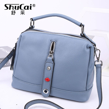 Genuine Leather Crossbody Bags Women Vintage Pillow Cow Leather woman's Handbag for girl Ladies Solid Casual messenger bags tot