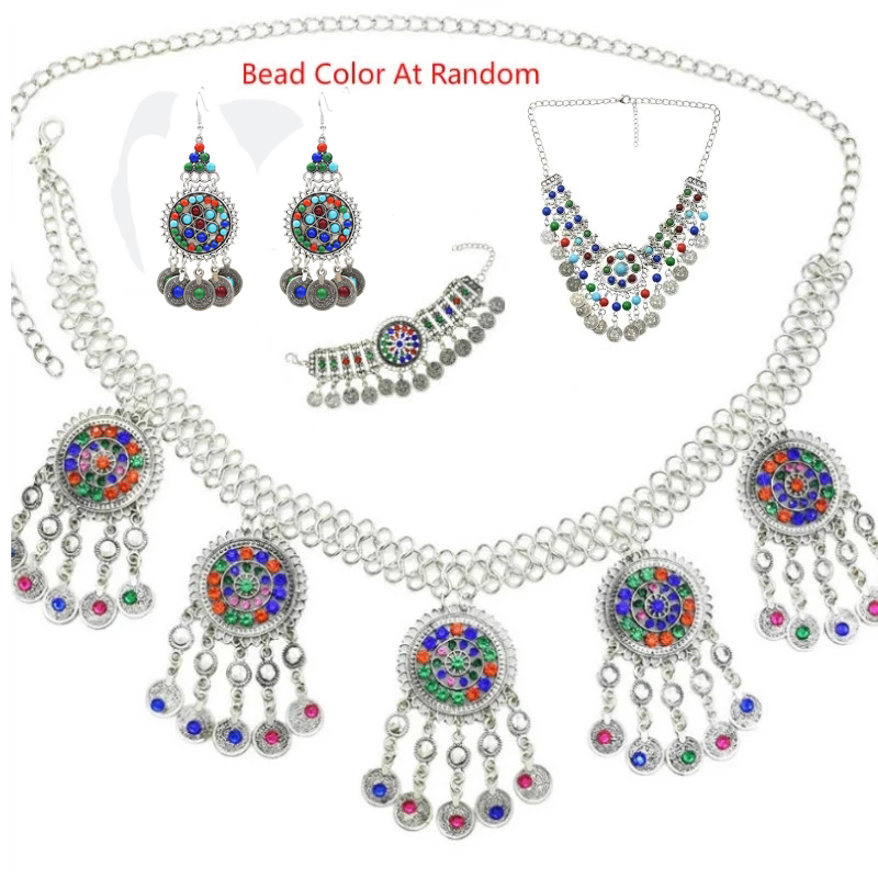 Ethnic Boho Resin Bead Coin Crystal Afghan Earrings Waist Belly Dance chain Bracelet Necklace Turkish India Tribal Beach Jewelry
