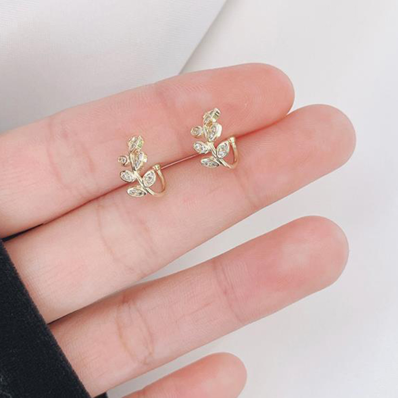Fashion Gold Leaf Clip Earring For Women Without Piercing Puck Rock Vintage Crystal Ear Cuff Girls Jewerly Gifts 1P
