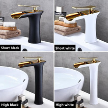 LASO Black and gold faucet Hot and cold face basin all copper faucet white bathroom waterfall faucet washbasin mixer water taps стоимость