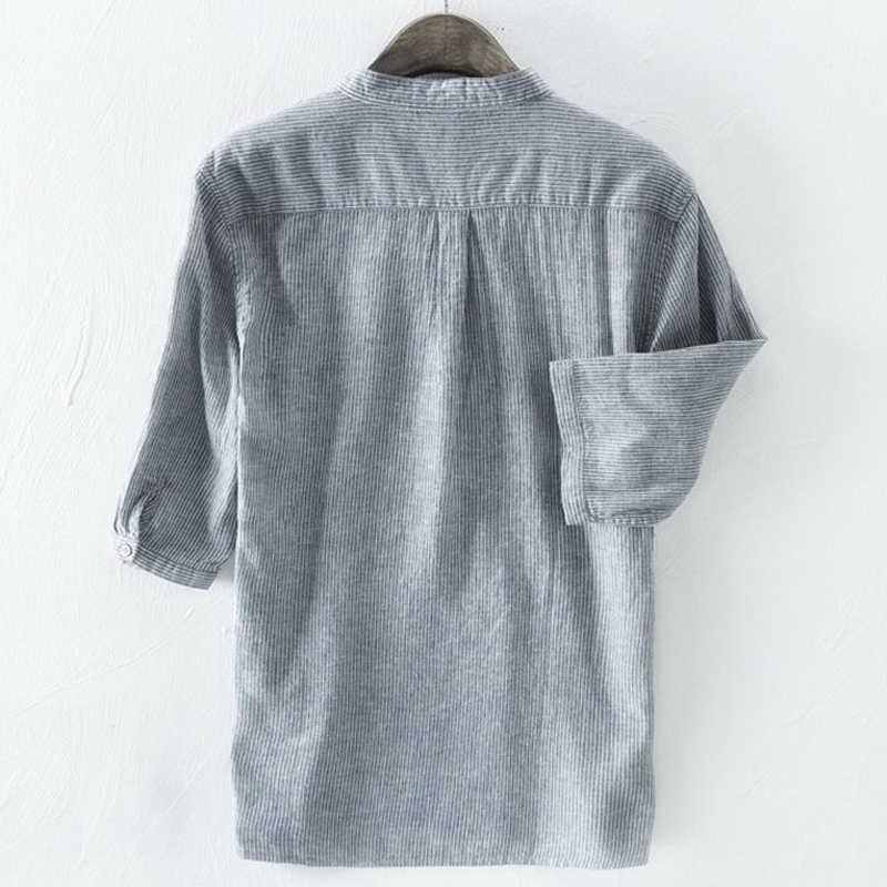 2020 dorywczo mody męskie koszule lato styl nadruk w paski mężczyźni sukienka koszula rękaw średniej długości lato styl strój koszule mężczyźni 5XL A488