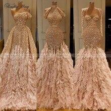 Luxe Veren Gold Mermaid Prom Jurk voor Zwarte Meisjes Lange Mouwen Elegante Arabische Formele Avondjurken Lange Graduation Jurken