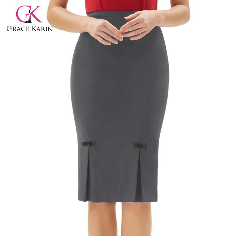 Retro Skirt Solid Evening party Formal Knee length Women Ladies Hips-wrapped