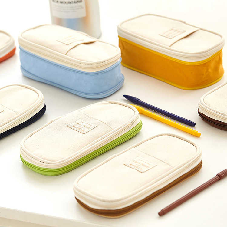 Super porte-crayon Kawaii grande capacité crayon école stylo étui fournitures crayon sac école boîte crayons poche papeterie