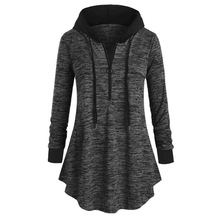 Women Casual Plus Size Space dyeing Long Sleeve Hooded Tunic Tops Shir