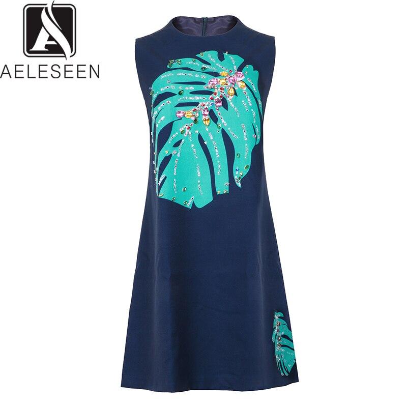 AELESEEN 2019 New Design Autumn Luxury Crystal Dresses Women Sweet Leaf Printed Holiday Beach Wearing Sleeveless Mini Dress