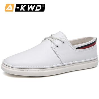 Fashion Shoes 2019 High Quality White Black Men Sneakers Lace-up Men Loafers Mocasines De Hombre Breathable Genuine Leather Flat