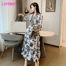 2019 French style court retro lantern sleeve print pleated ruffled floral dress  Full