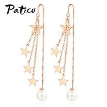 Korean Long Tassel 925 Sterling Silver Drop Earrings Women Five-pointed Star Simulated Pearl Statement Pierced Earing Jewelry цены