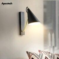 Ferro arte do metal conduziu a lâmpada de parede cor preta branca moderna sala estar decoração luminárias quarto leitura luzes parede
