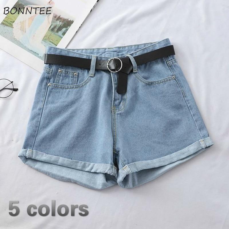 Shorts Women Denim Wide Leg Solid Simple Korean Trendy Summer Thin Breathable Soft Slim Girl Streetwear Vintage Womens All-match