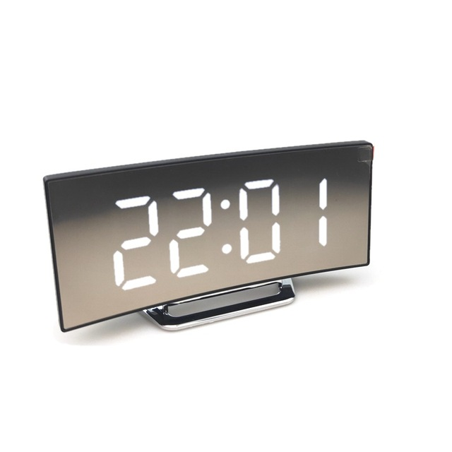 Curved Electronic Clock Decoration Office Study Large Screen LED Mirror Clock Mute Alarm Clock