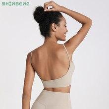 Shinbene sexy sem costas anti-suor yoga gym workout sutiãs topo de colheita feminino com decote em v plain acolchoado dança atlético esporte sutiãs topos S-XL