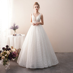 Wedding Dress 2019 Princess Dream Starry Sky Concise Bride Marry Prom Gown
