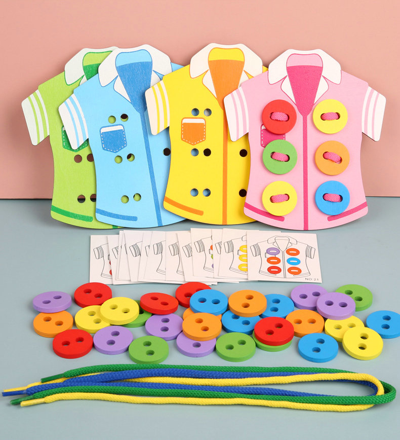 Kindergarten Supplies Clothing Buttons Wooden Handmade Toys,early Childhood Education Thread Sewing Buttons Girl Gift 1-5 Years